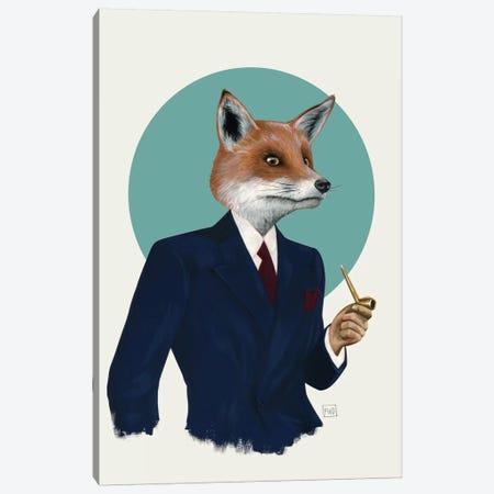 Mr. Fox Canvas Print #FAM26} by Famous When Dead Canvas Artwork