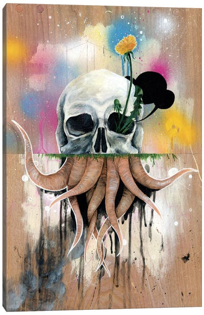 Skull Roots by Famous When Dead Canvas Art Print