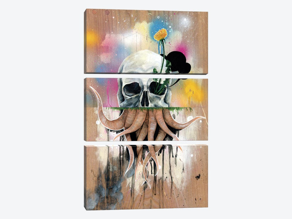 Skull Roots by Famous When Dead 3-piece Canvas Artwork