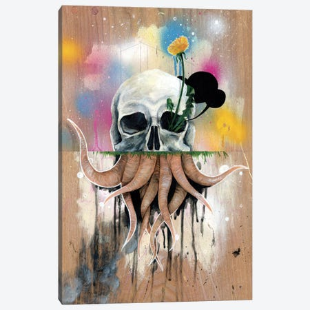Skull Roots Canvas Print #FAM30} by Famous When Dead Canvas Artwork
