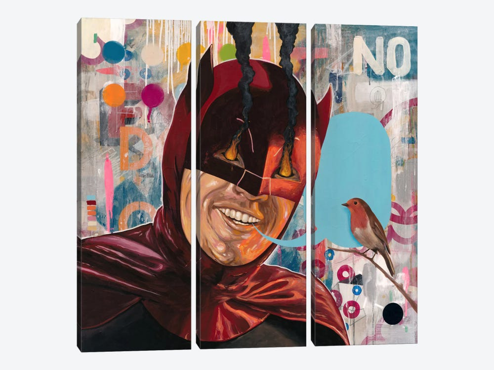 Caped Crusader by Famous When Dead 3-piece Canvas Art Print