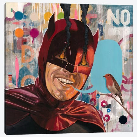 Caped Crusader Canvas Print #FAM46} by Famous When Dead Canvas Art