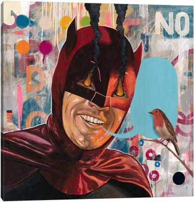 Caped Crusader by Famous When Dead Canvas Art Print