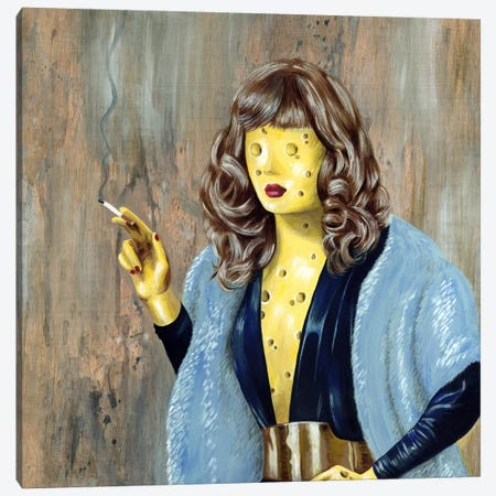 Cheese Lady Canvas Print #FAM47} by Famous When Dead Canvas Artwork