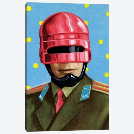 Pink Robocop Canvas Print #FAM68} by Famous When Dead Canvas Print