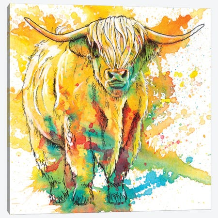 Highland Cow Canvas Print #FAS11} by Flo Art Studio Canvas Wall Art