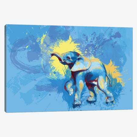 Baby Elephant Canvas Print #FAS16} by Flo Art Studio Art Print