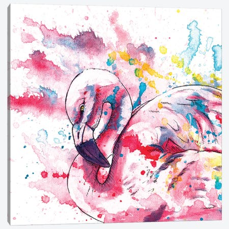 Pink Flamingo Canvas Print #FAS19} by Flo Art Studio Canvas Wall Art