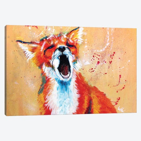 Sleepy Fox Canvas Print #FAS20} by Flo Art Studio Canvas Art Print