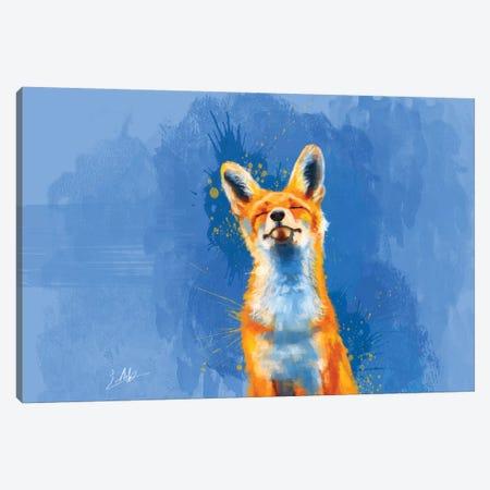 Happy Fox Canvas Print #FAS21} by Flo Art Studio Art Print