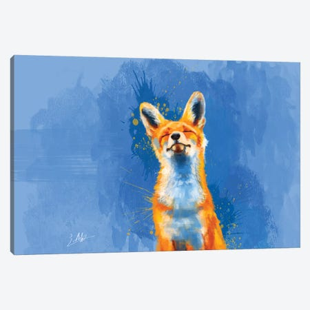 Happy Fox Canvas Print #FAS21} by Flo Art Studio Art Print