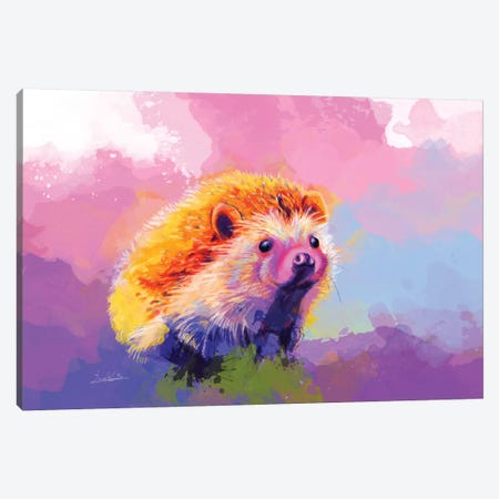 Sweet Hedgehog Canvas Print #FAS24} by Flo Art Studio Canvas Art