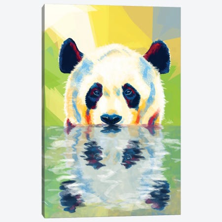 Panda Taking A Bath Canvas Print #FAS42} by Flo Art Studio Canvas Print