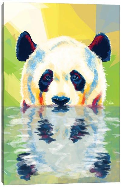Panda Taking A Bath Canvas Art Print