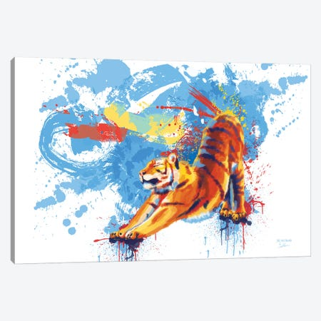 Stretching Tiger Canvas Print #FAS45} by Flo Art Studio Canvas Wall Art