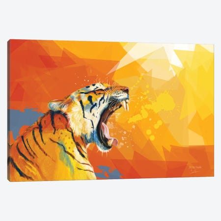 Tiger In The Morning Canvas Print #FAS47} by Flo Art Studio Canvas Wall Art