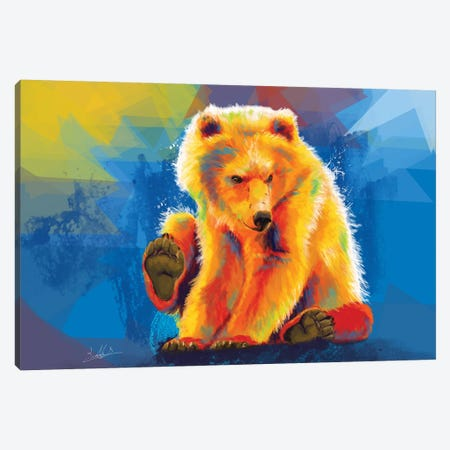 Play With A Bear Canvas Print #FAS4} by Flo Art Studio Canvas Print