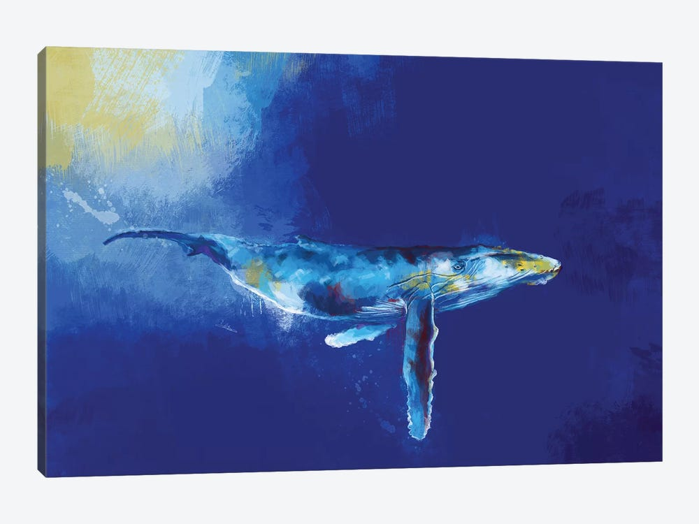 Deep Blue Whale by Flo Art Studio 1-piece Canvas Art