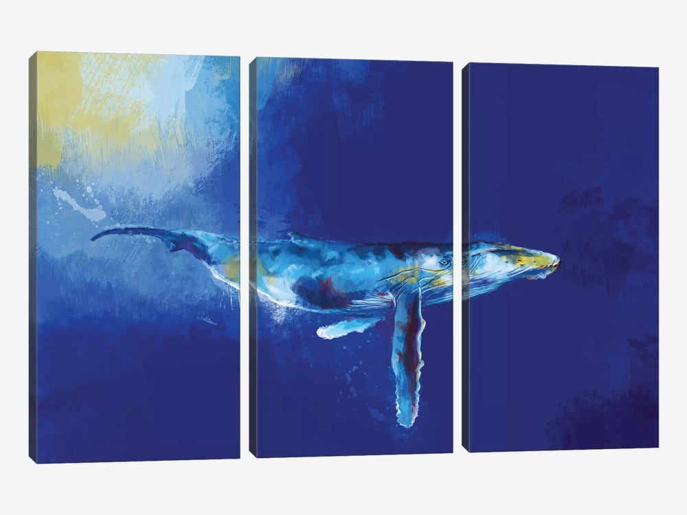 Deep Blue Whale by Flo Art Studio 3-piece Canvas Art