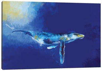 Deep Blue Whale Canvas Art Print