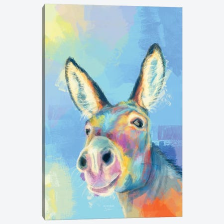 Carefree Donkey Canvas Print #FAS58} by Flo Art Studio Canvas Artwork