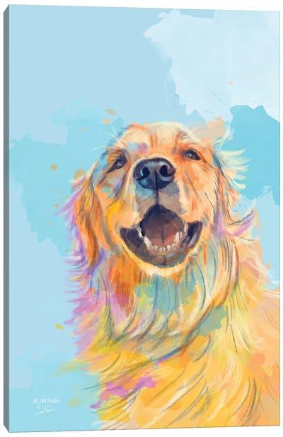Golden Smile Golden Retriever Portrait Canvas Art Print