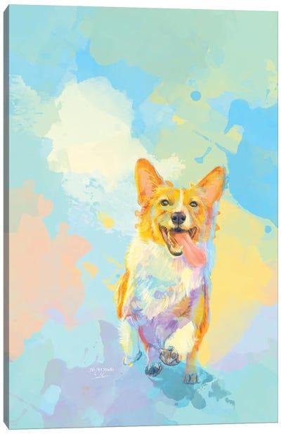 Happy Corgi Canvas Art Print