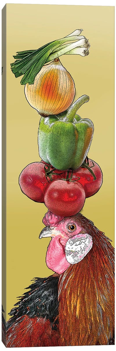 Rooster With Vegetables On Head Canvas Art Print