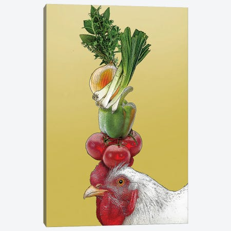 White Hen With Vegetables On Head Canvas Print #FAU154} by Eric Fausnacht Canvas Wall Art