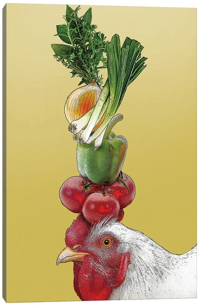 White Hen With Vegetables On Head Canvas Art Print