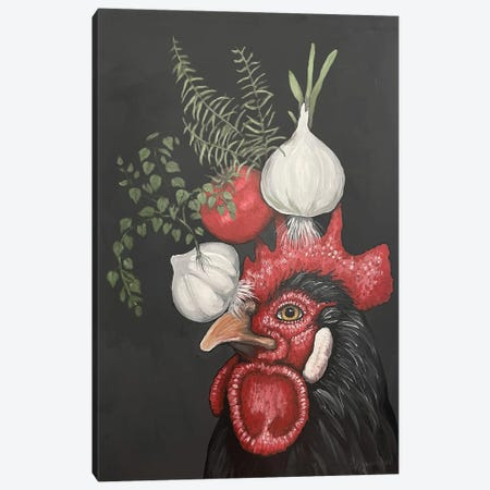 Black Rooster With Garlic, Onion, Tomato, Rosemary, And Oregano Canvas Print #FAU159} by Eric Fausnacht Canvas Art Print