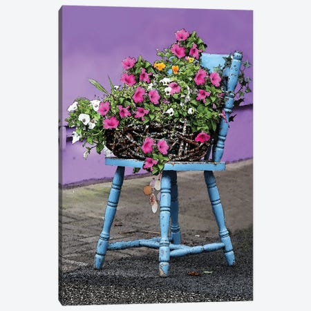Blue Chair With Flowers Canvas Print #FAU161} by Eric Fausnacht Canvas Wall Art