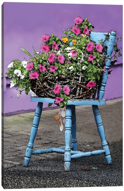 Blue Chair With Flowers Canvas Art Print