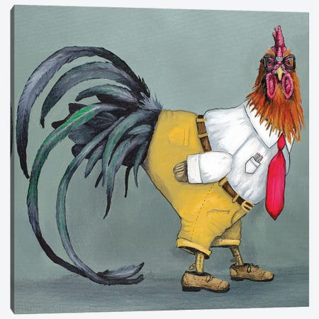 Nerd Rooster Canvas Print #FAU22} by Eric Fausnacht Canvas Print