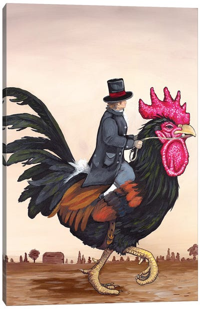 Rooster Rider Canvas Art Print
