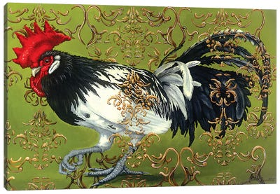 White Winged Rooster Canvas Art Print