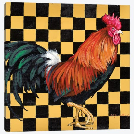 Rooster On Checkerboard Canvas Print #FAU34} by Eric Fausnacht Art Print