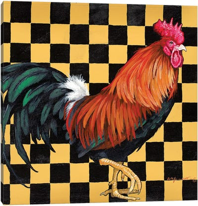 Rooster On Checkerboard Canvas Art Print