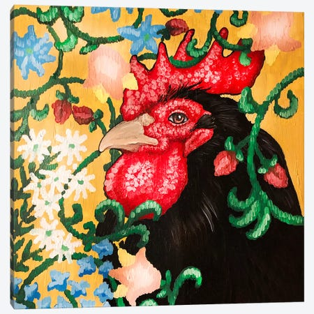 Black Rooster Facing Left With Cruel Work Canvas Print #FAU35} by Eric Fausnacht Canvas Art Print