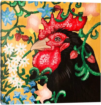 Black Rooster Facing Left With Cruel Work Canvas Art Print