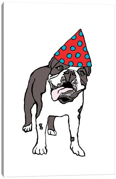 Bulldog With Hat Canvas Art Print