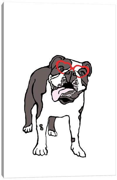 Bulldog With Heart Glasses Canvas Art Print