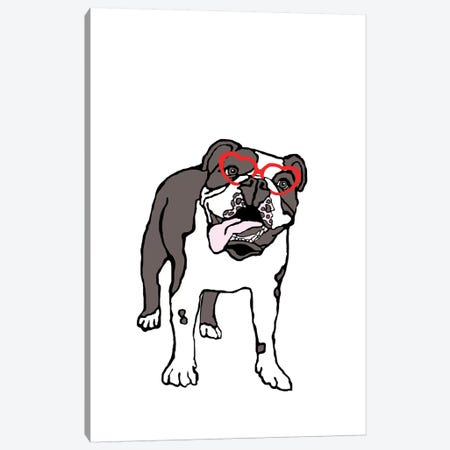 Bulldog With Heart Glasses Canvas Print #FAU41} by Eric Fausnacht Art Print
