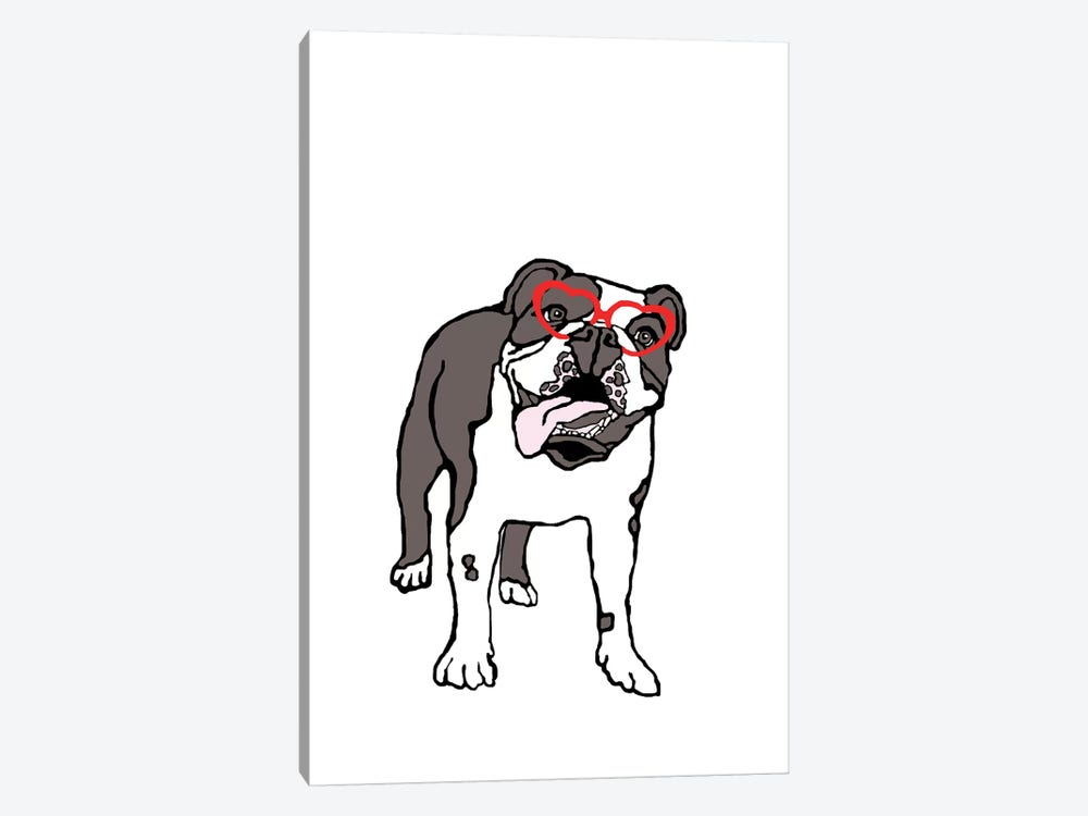 Bulldog With Heart Glasses by Eric Fausnacht 1-piece Canvas Art