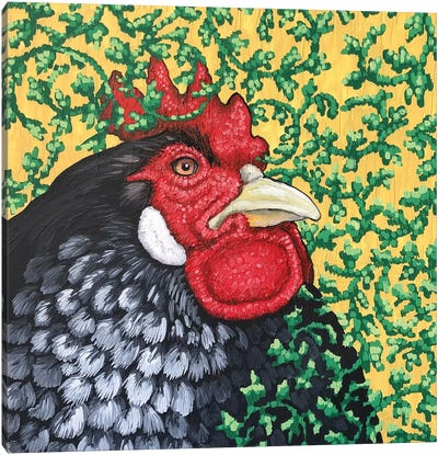 Gray Rooster With Ivy Canvas Art Print