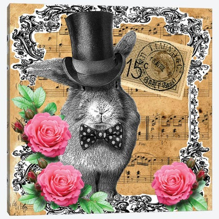 Rabbit In Top Hat 3-Piece Canvas #FAU53} by Eric Fausnacht Canvas Artwork