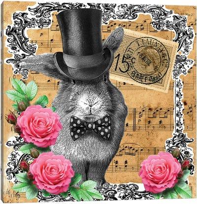 Rabbit In Top Hat Canvas Art Print