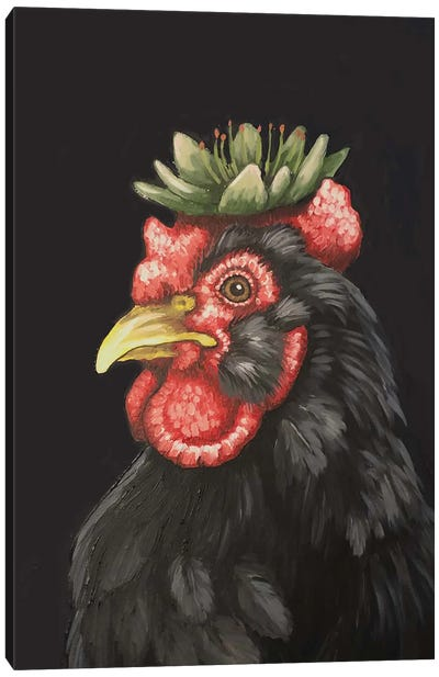 Hen With Hen And Chicks Canvas Art Print