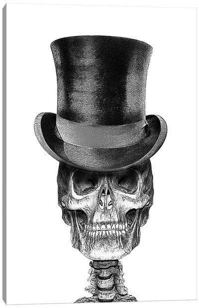 Skull In Top Hat Canvas Art Print