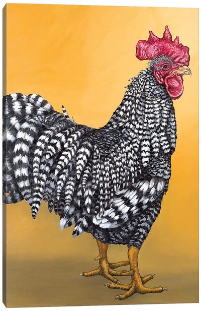 Black And White Rooster Canvas Art Print